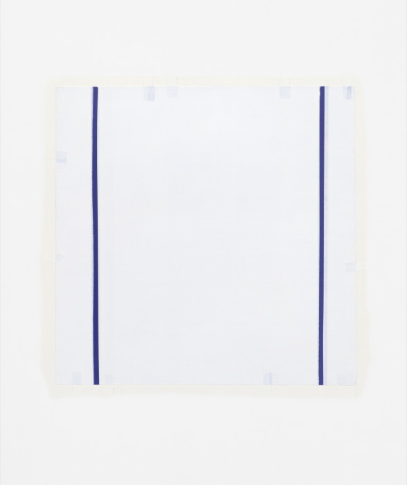 A square white canvas with two narrow vertical blue lines on either side, and several faint blue rectangles dotted irregularly along the canvas edges.