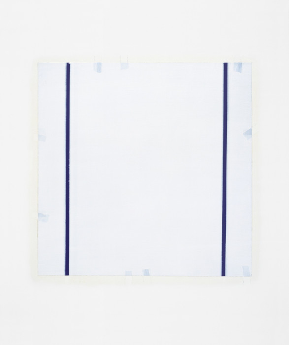 Square white painting featuring a thin blue vertical bar painted from top to bottom near the left and right sides and small light blue rectangles arranged sporadically along the edges. A beige varnish outline surrounds the entire painting.