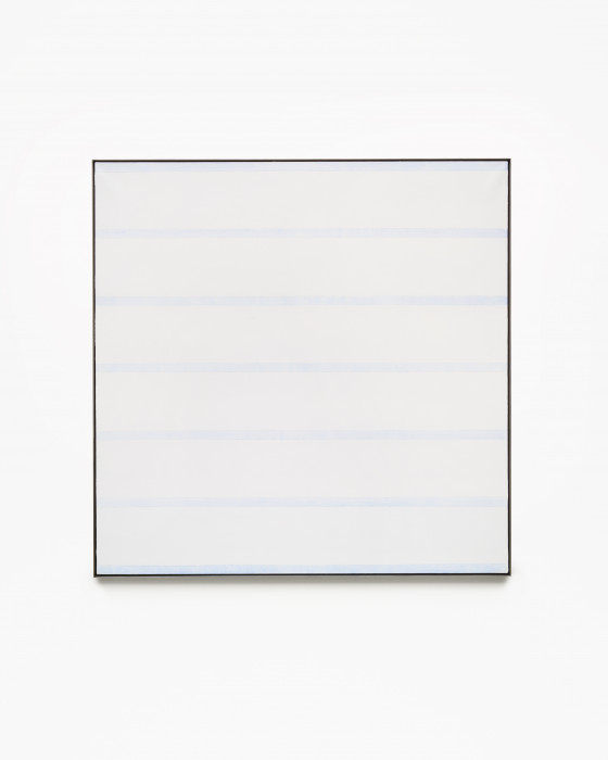 Square, framed painting of thick, horizontal, white bands alternating with thin, bluish-white stripes.
