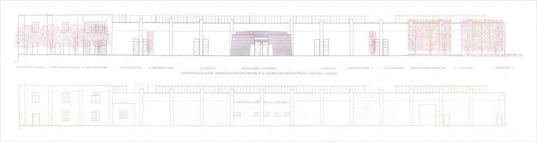 Irwin_Rendering of administration building, stand of Hawthornes_1998_HR