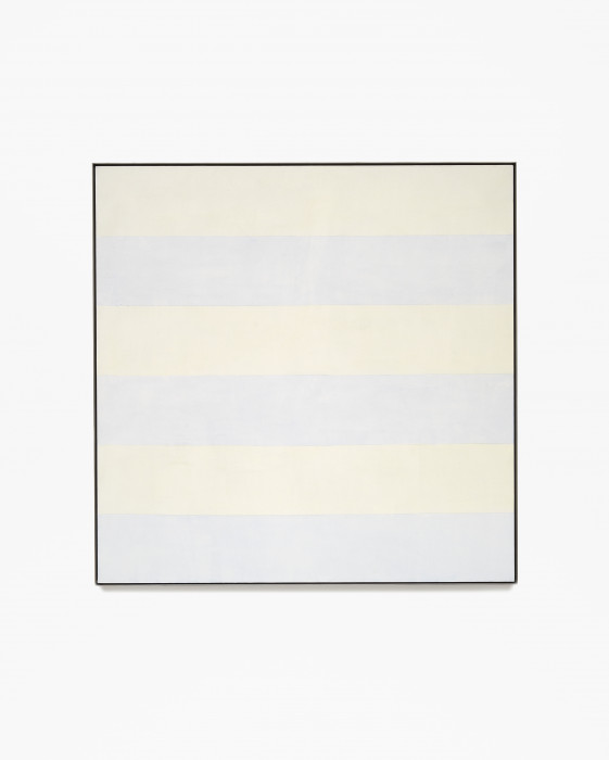 Square, framed painting with six alternating horizontal bands of pale yellow and blue.