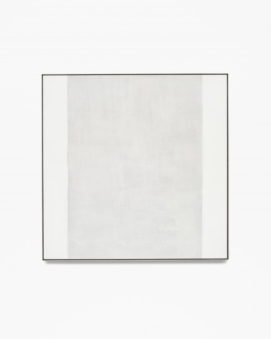 Square, framed painting with a thick, vertical, gray band at center and two thin, vertical, white bands along left and right edges.