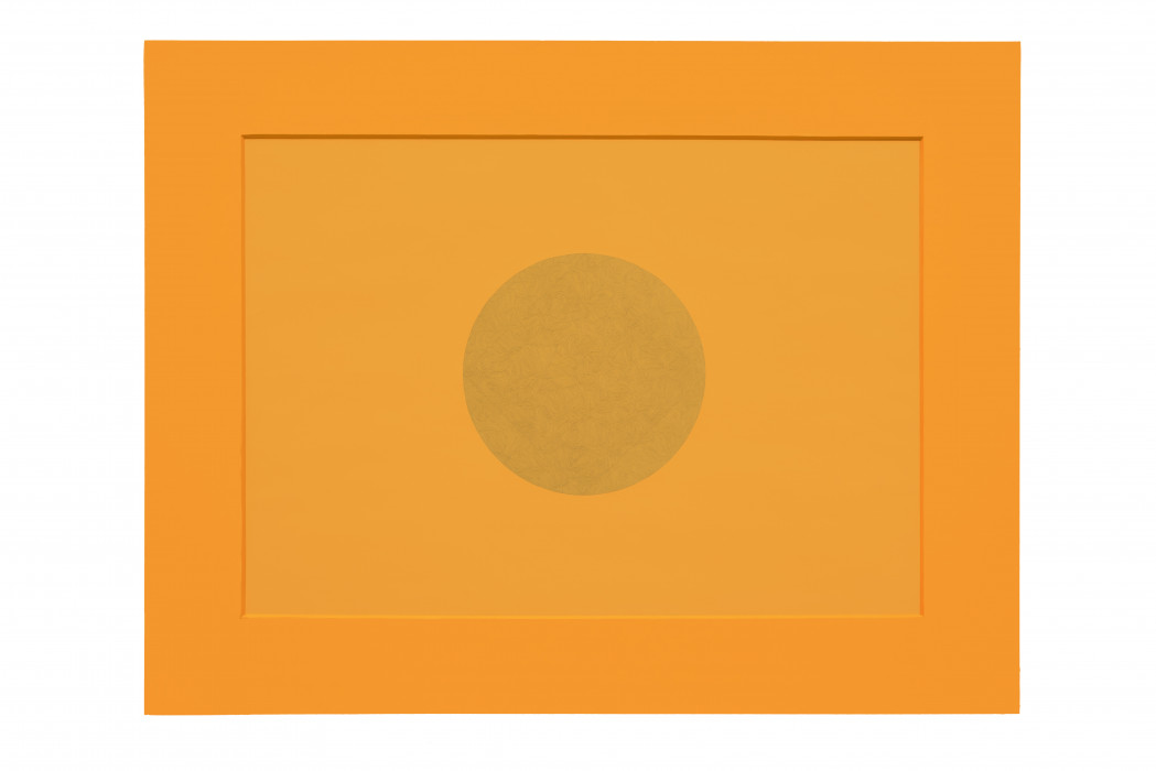 An orange, horizontally oriented, rectangular sheet of paper features a faint circular drawing of curvilinear lines at center and is placed on a matching orange matte board.