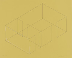 A gray line drawing of an aerial view of an architectural space is placed diagonally on a yellow background. A white rectangle is drawn in relation to the leftmost