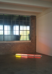 Four neon tubes of increasing length lie beside one another on the floor in the corner of an industrial gallery space. The shortest tube is gold, the next is pink, and the two longest are both red.