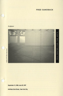 Sandback, Fred, Sculpture, 1996 brochure cover