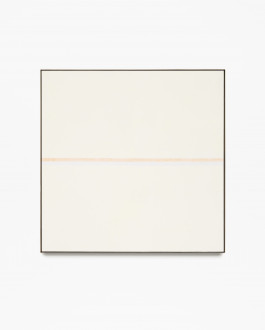 Square, beige, framed painting with horizontal, pale orange and pale blue stripes at center.