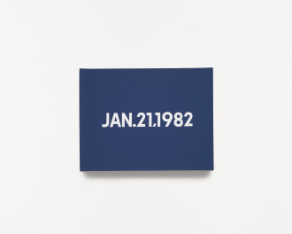 A navy-blue canvas with centered white sans-serif type that reads