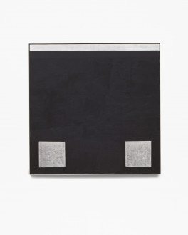 Square, black, framed painting with two silver squares at lower left and right corners and horizontal silver band along top edge.