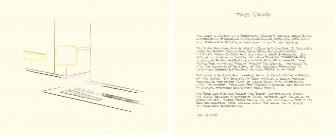 Two adjacent beige rectangular pieces of paper, the left displaying a multicolored line drawing, the right a block of handwritten text